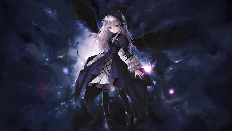 Suigintou - anime girl with black wings